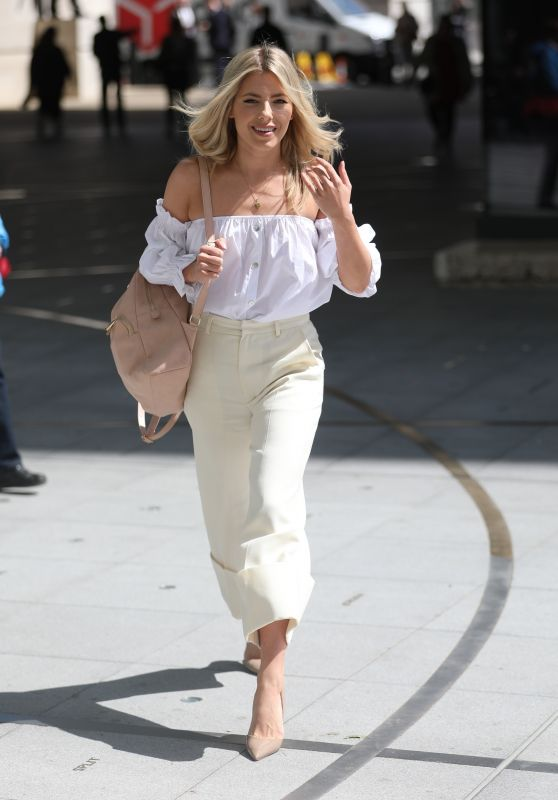 Mollie King - Wearing White Off Shoulder Top at BBC Studios in London 05/17/2018