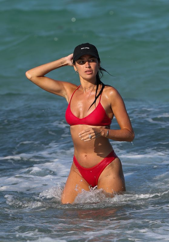 Nicole Williams in a Red Bikini on the Beach in Miami 04/30/2018