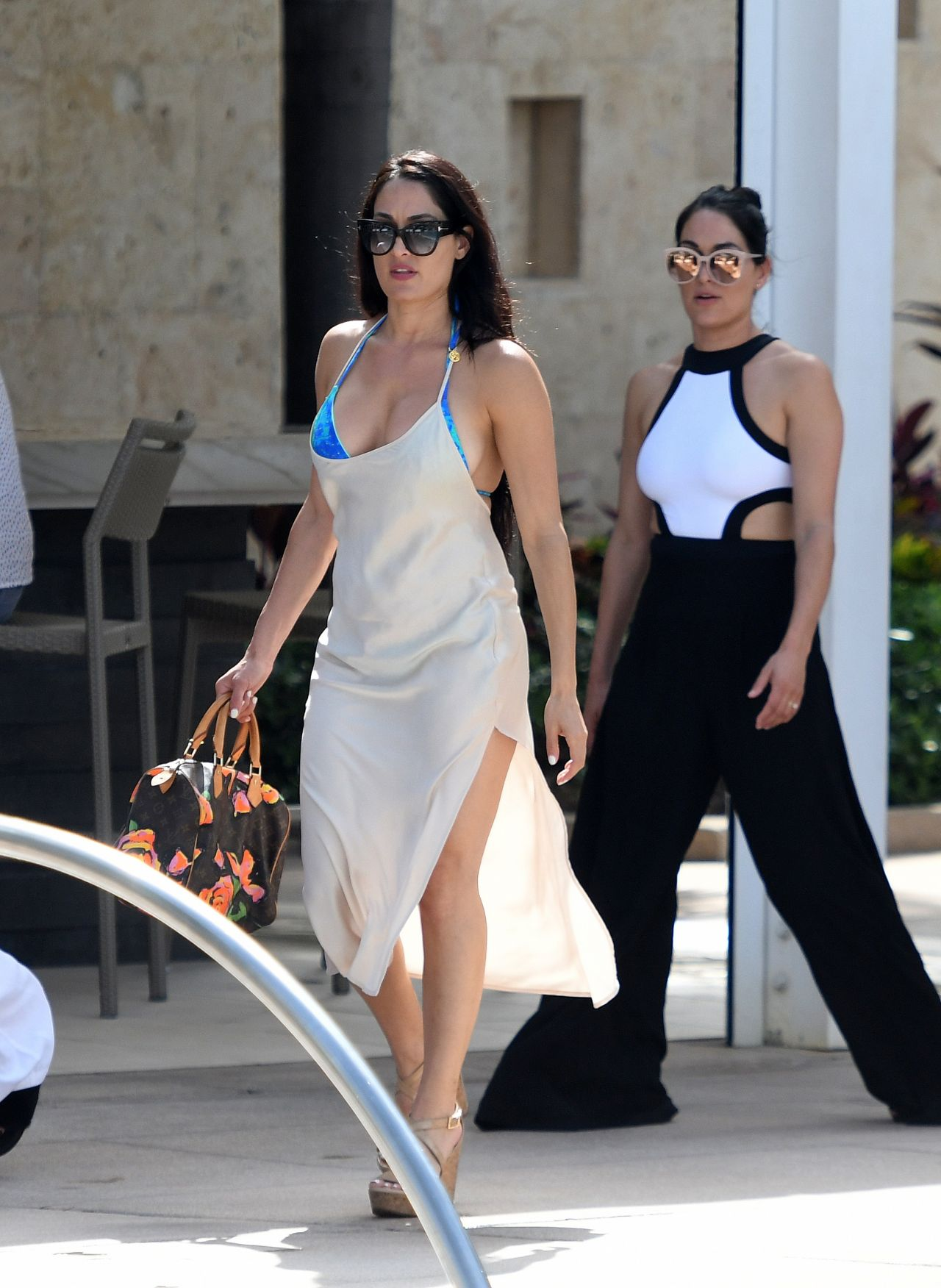 Nikki Bella In A Blue Bikini - Filming For Total Divas In -1016