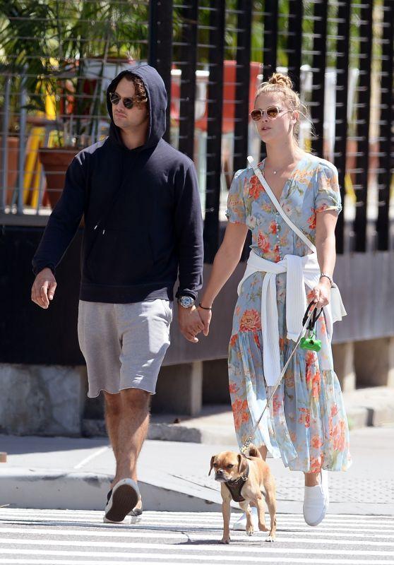 Nina Agdal and Her Boyfriend Jack Brinkley - Walking Their Dog in NYC 05/21/2018