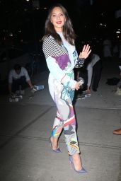 Olivia Munn in a Bright and Colorful Outfit - New York City 05/21/2018