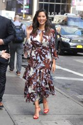 Olivia Munn in a Brown and White Dress - Leaves The Greenwich Hotel in Downtown New York 05/23/2018