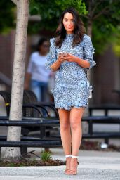 Olivia Munn in a Short Blue Floral Dress in New York City 05/23/2018