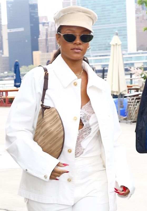 Rihanna in an All White Oversized Outfit in New York 05/10/2018