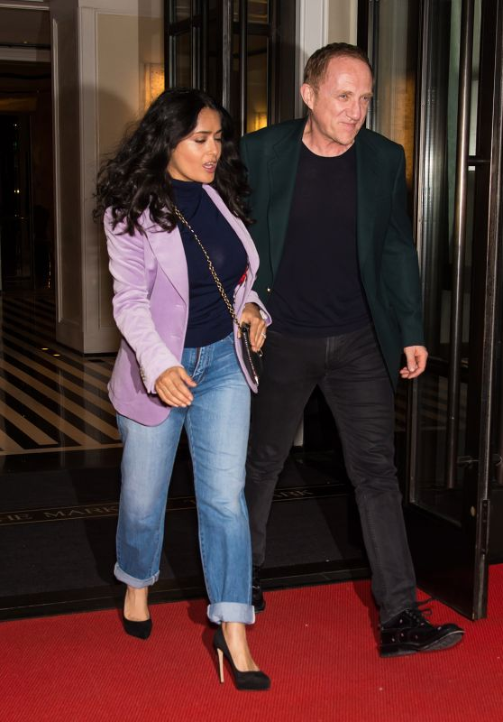 Salma Hayek and Husband Francois-Henri Pinault - Leaving Their Hotel in NYC 05/06/2018
