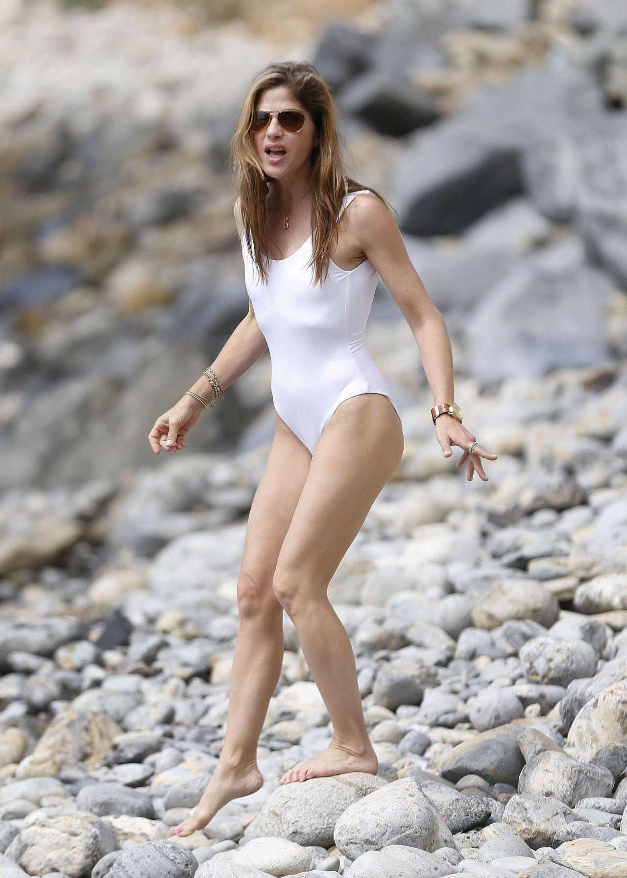 Selma Blair In White Swimsuit At The Beach In Palos Verdes