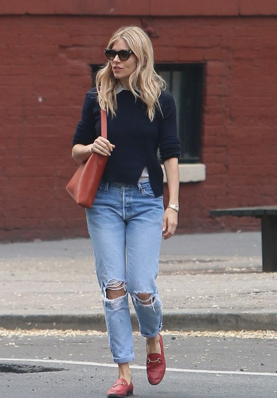 Sienna Miller in Ripped Jeans - New York 05/10/2018