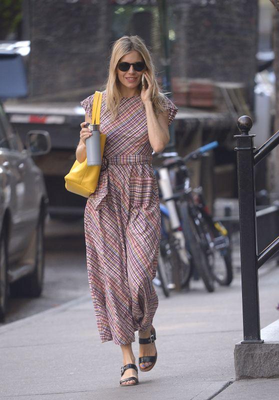 Sienna Miller on Her Phone - Running Errands in NYC 05/02/2018