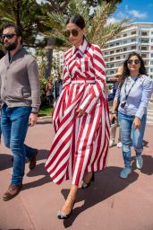Sonam Kapoor in Striped Dress in Cannes 05/15/2018