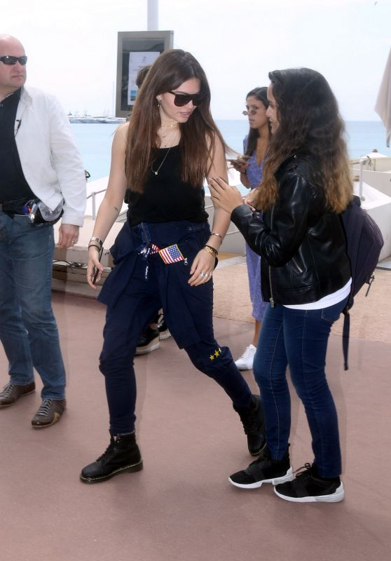Thylane Blondeau and her Mother Veronika Loubry at Hotel Martinez in Cannes 05/09/2018
