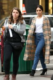"""Vanessa Hudgens in a Burberry Trench Coat - """"Second Act"""" Set in New York City 05/06/2018"""