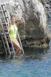 Victoria Bonya in a Neon Yellow Swimsuit at the Eden Roc in Antibes