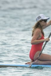 Abbey Clancy in a Red Swimsuit on a Catamaran in Barbados, June 2018