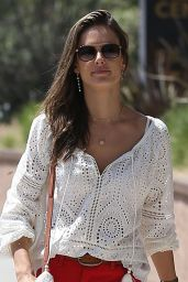 Alessandra Ambrosio Shows Off Her Legs in a Pair of Short Red Shorts - Pacific Palisades 06/13/2018