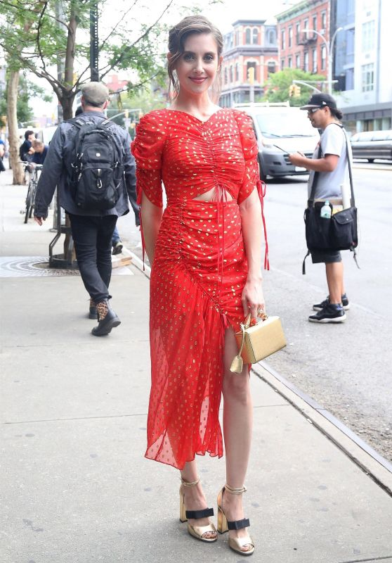 Alison Brie in a Bright Red Ensemble - Leaving the Bowery Hotel in NY 06/20/2018