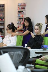 Amelia and Delilah Hamlin at a Nail Design in Beverly Hills 06/12/2018