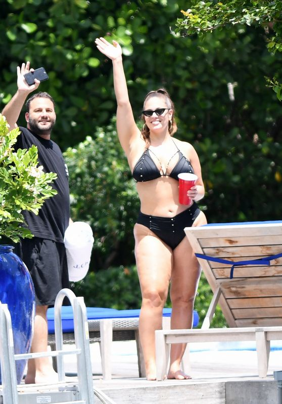 Ashley Graham in a Black Bikini in Miami 06/03/2018