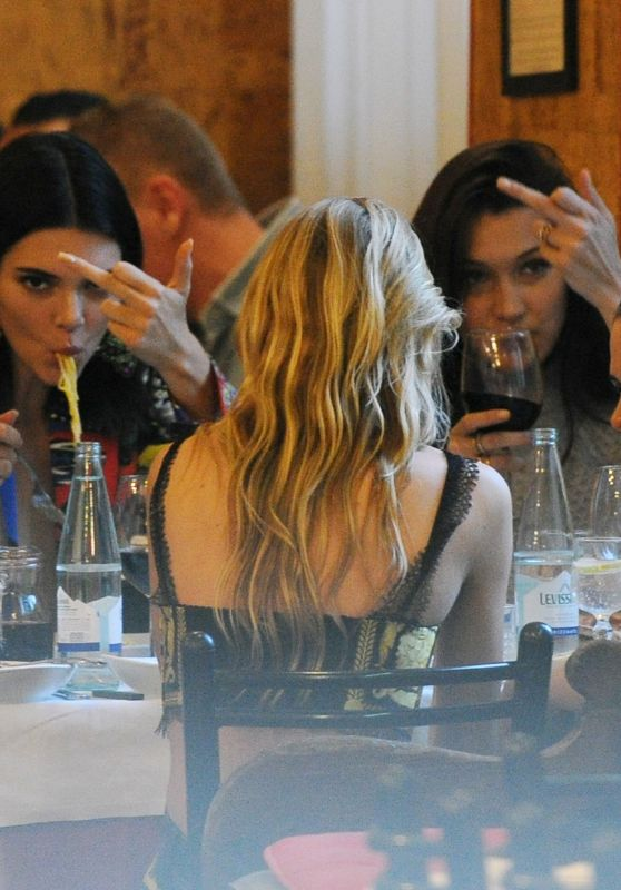 Bella Hadid, Kendall Jenner, Kristen Stewart and Stella Maxwell - Dinner Together in Milan 06/16/2018