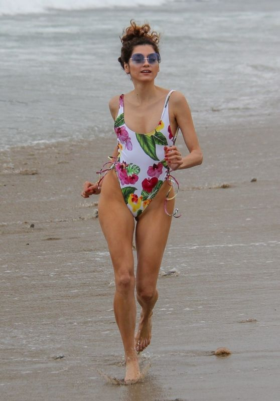 Blanca Blanco in a Flower-Print Swimsuit on the Beach in Malibu 06/20/2018
