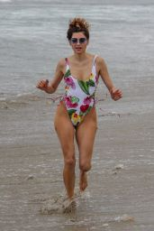 Blanca Blanco in a Flower-Print Swimsuit on the Beach in Malibu 06/20/2018