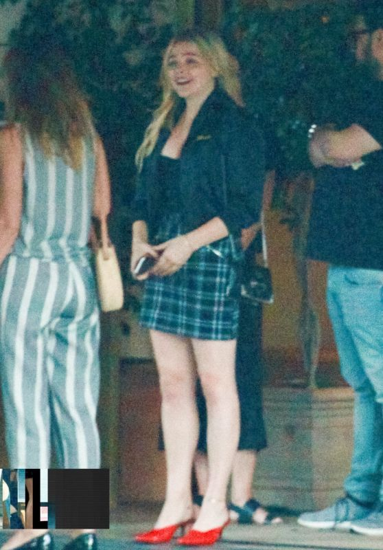 Chloe Moretz in a Plaid Miniskirt - Meets Up With Friends for Lunch in LA 06/11/2018