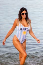 Claudia Romani in Argentinian Flag Swimsuit - South Beach 06/25/2018