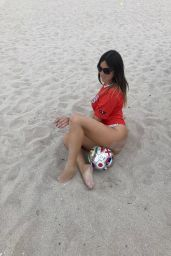 Claudia Romani in Red Shirt at South Beach 06/18/2018