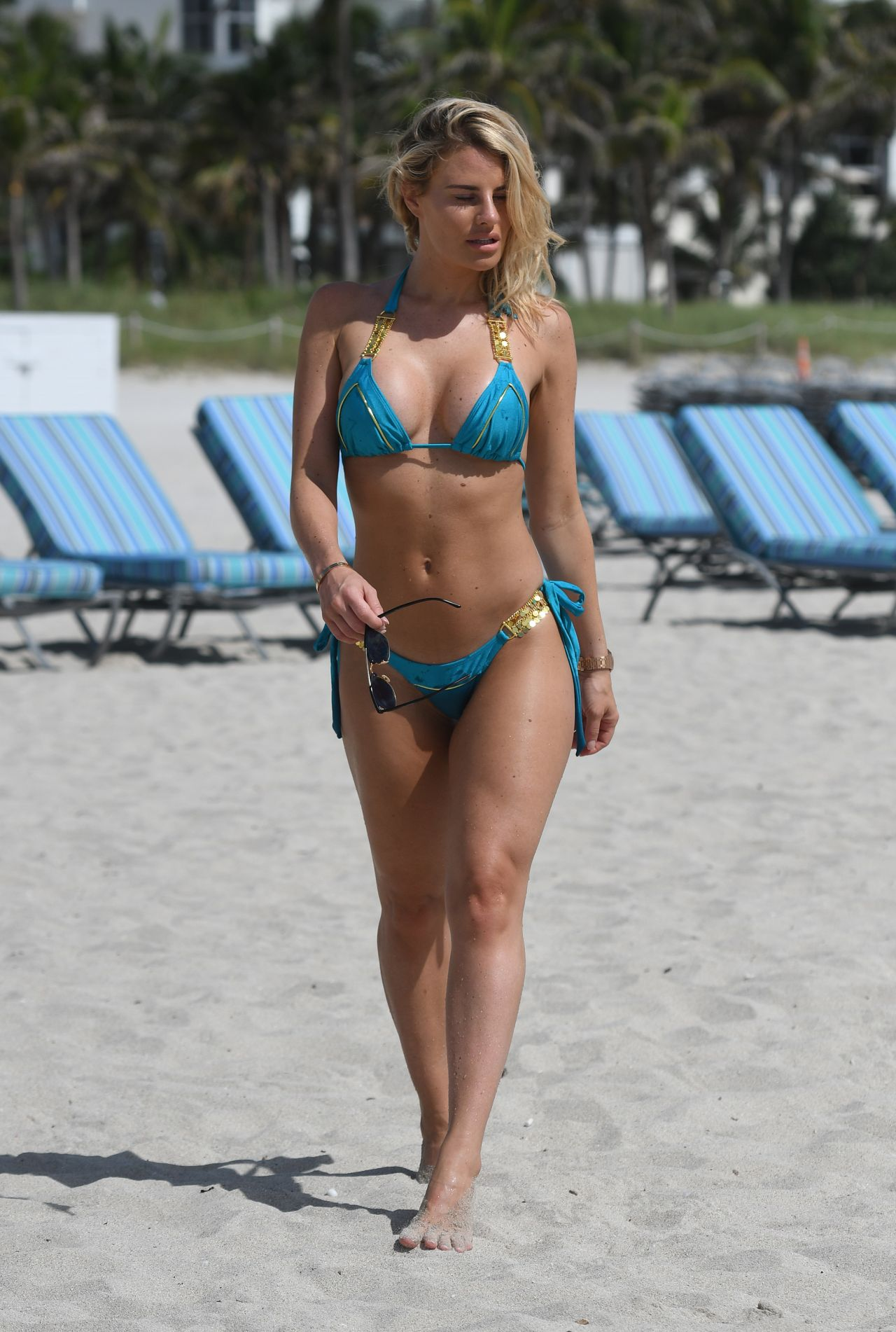 Danielle Armstrong In An Electric Blue Bikini On The Beach