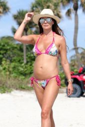 Danielle Lloyd in a Floral Patterned Bikini - Stroll on the Beach 06/11/2018