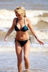 Danniella Westbrook in a Green Bikini at the Beach in Frinton-on-Sea 06/02/2018