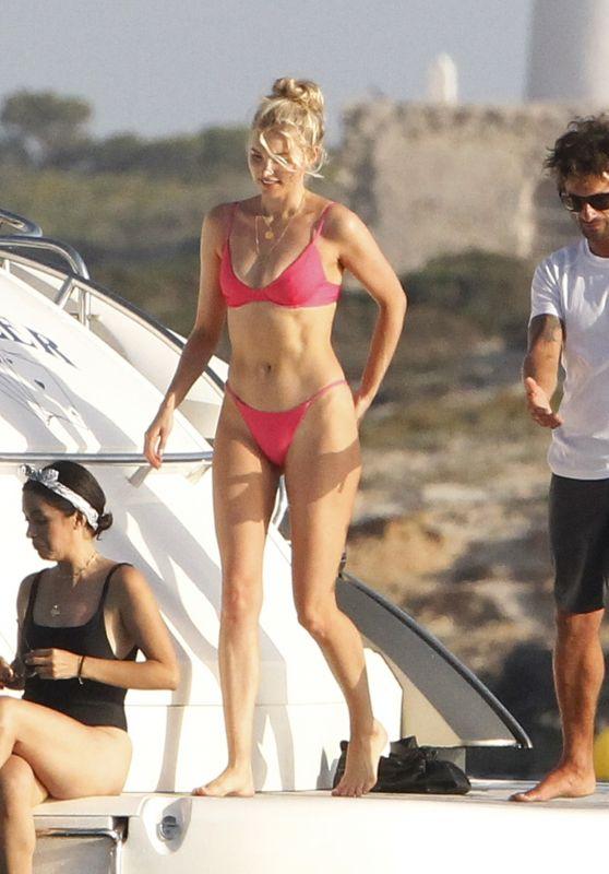 Elsa Hosk in a Red Bikini on a Yacht Formentera 06/26/2018