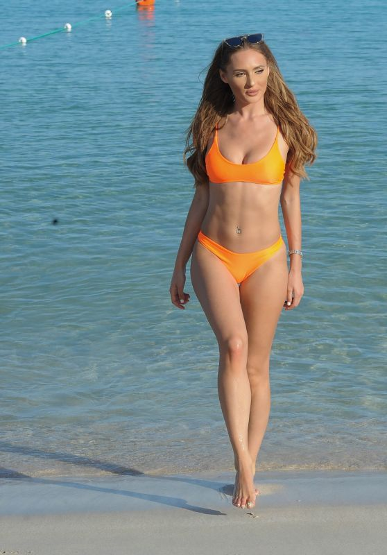 Georgie Clarke in a Orange Bikini at the Beach in Ibiza 06/13/2018