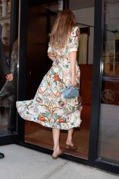 Gigi Hadid in a Floral Print Dress - New York City 06/19/2018
