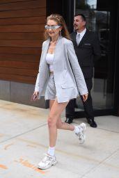 Gigi Hadid in a Grey Blazer and Tiny Shorts - New York City 06/20/2018