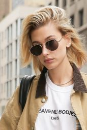 Hailey Baldwin Shows Legs in Denim Shorts - New York City 06/13/2018