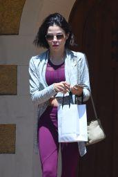 Jenna Dewan in a Purple Leggings - Leaving a Friends House in Los Angeles 06/18/2018