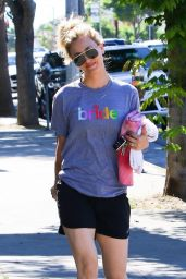 "Kaley Cuoco Wearing a ""Bride"" T-Shirt and Shorts - Los Angeles 06/25/2018"