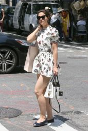 Katie Holmes Leggy in Floral Print Mini-Dress - New York City 06/09/2018