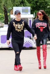 Katie Price in a Red Boots - Out in London 06/25/2018