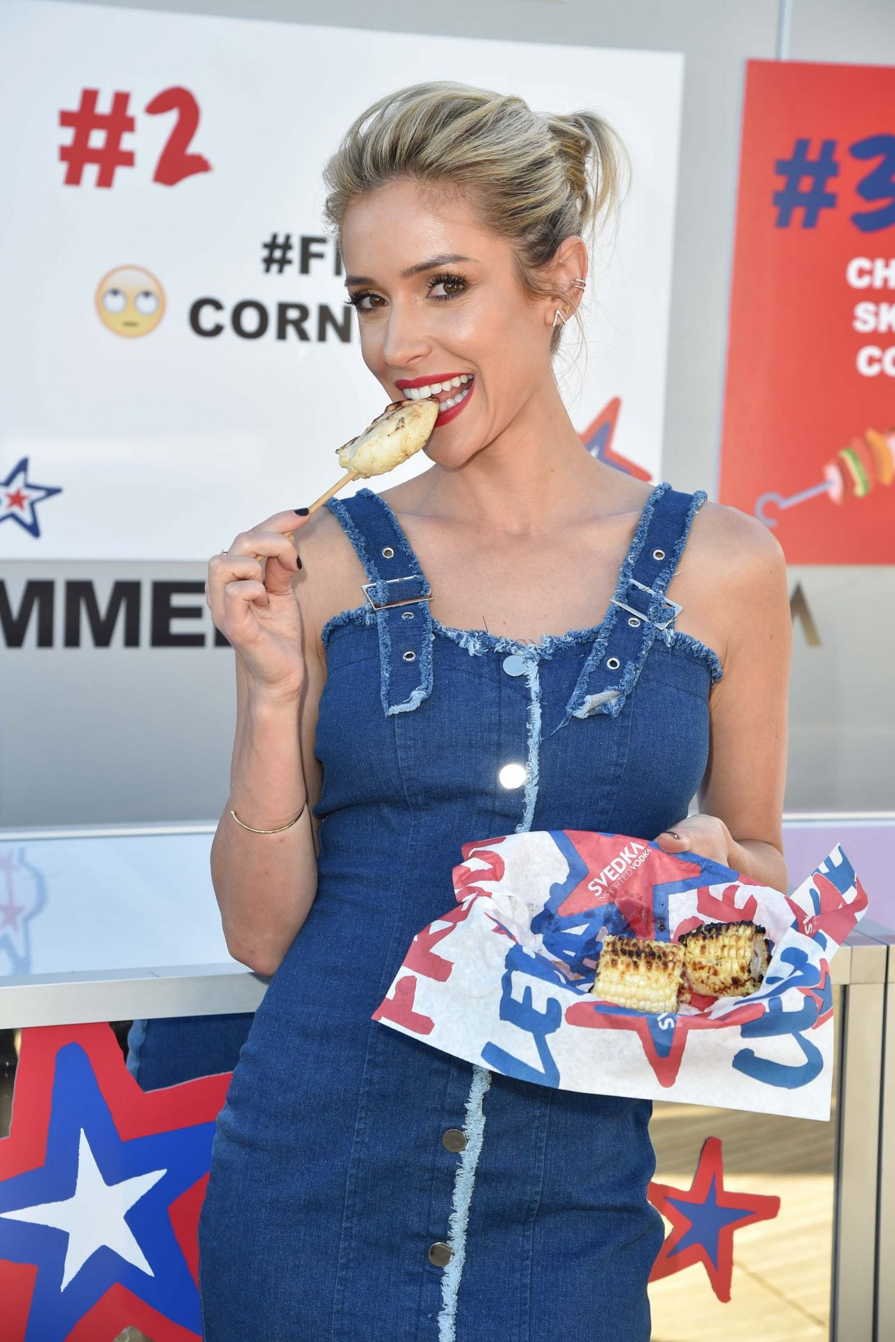 Kristin Cavallari gorgeous in short denim dress at Svedka BBQ in LA