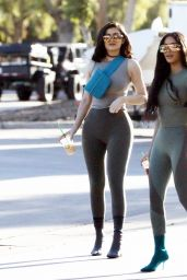 Kylie Jenner and Kim Kardashian in Skintight Grey and Black Halter Tops and Leggings - Calabasas 06/11/2018