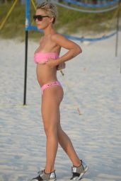 Lauren E. Hubbard in a Pink Bikini at the Beach in Miami 06/29/2018