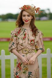 Lily Collins - Cartier Queens Cup Polo in Windsor 06/17/2018