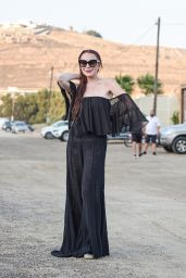 Lindsay Lohan in a Black Outfit - Mykonos, June 2018