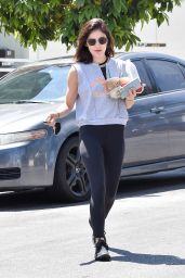 Lucy Hale - Grabbing Several drinks to go From Starbucks in Studio City 06/28/2018
