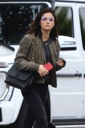 Lucy Hale in an Olive Bomber Jacket - LA 06/29/2018