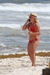 Mandy Rose in a Red Bikini in Tulum 06/26/2018