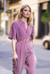 Martha Hunt in Striped DVF Jumpsuit - New York City 06/12/2018