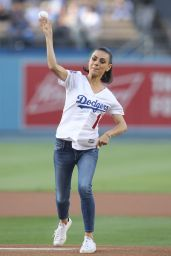 Mila Kunis - Throws Out the 1st Pitch Before the Game at Dodger Stadium in LA 06/29/2018