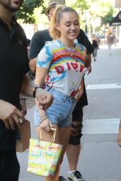 Miley Cyrus in Jeans Shorts - Out in NYC 06/29/2018